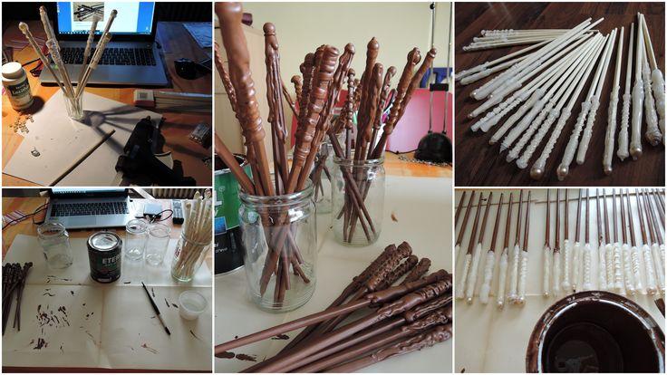 Kouzelníci z 1.B - výroba kouzelnických hůlek