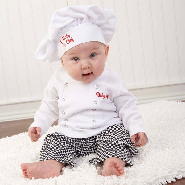 Our Baby Chef Gift Set makes the perfect baby gift for any lil' chef!  Tasteful, three-piece baby chef layette set includes white chef's hat, white chef's coat with secure snap closure and black-and-w