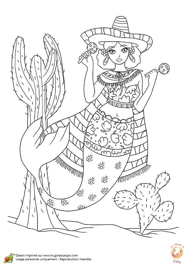 une charmante sirne mexicaine colorier - Coloriage Sirene