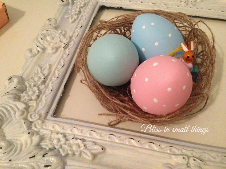 πασχαλινές φωλίτσες αυγών με λινάτσα