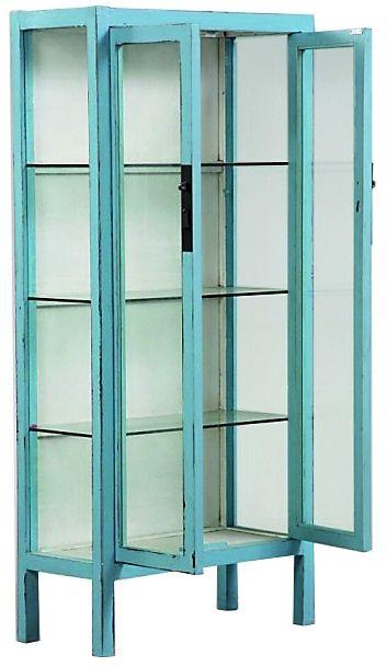 Amalfi 1 -vitriinikaappi, sininen