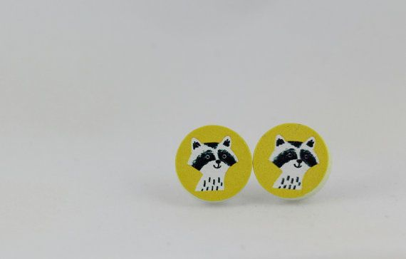 Raccoon Wood 15mm Stud Earrings - Animal Jewelry - Yellow Earrings - Woodland Animal - Trash Panda - Raccoon Earrings - Rocky Raccoon - Cute