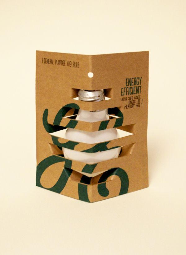 Product is easily detected in this instance the bulb and fitting. Packaging appears bold and sturdy, eco friendly colours