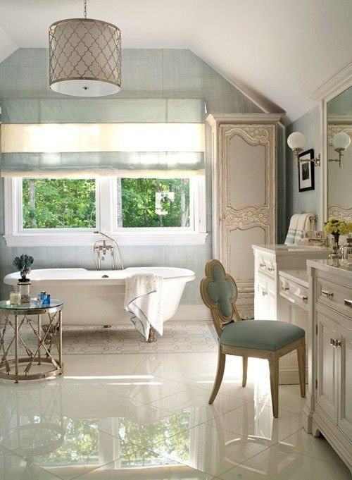 love this clean, bright and blue space: Bathroom Design, Tubs, Lights Fixtures, Floors, Chairs, Dreams Bathroom, Bathroom Ideas, Master Bathroom, Design Bathroom