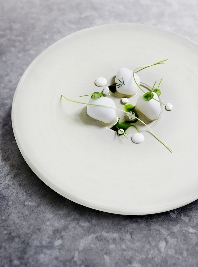 """This should have gone to my """"artists"""" board. The Nordic Star Chef from Copenhagen, and author of, The Wizards Cookbook, creates a scallops dish with a horseradish gel."""