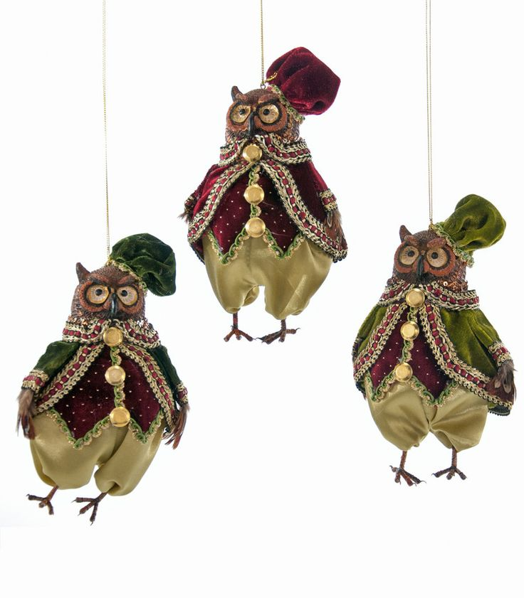 """Katherine's Collection Tapestry Christmas Collection Six 6"""" Tapestry Owl Ornaments Free Ship"""