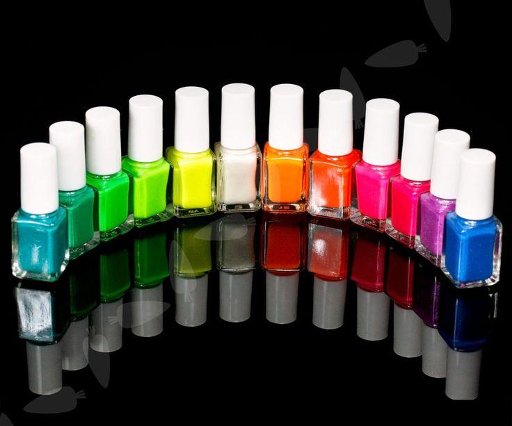 12tlg x Leuchtet im Dunkeln Nagellack Glühtfarbe Nail Art Varnish Fluoreszenz 735548190462 | eBay