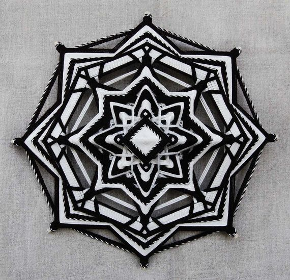 Darkness reveals Light, yarn mandala ~ Ojo de Dios, 12 inches (31 cm), 8-sided, wall hanging