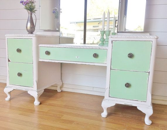 Shabby Chic Distressed French Provincial Vanity Dressing Table With Mirror.  Pastel Mint And White.