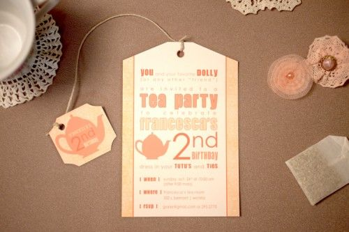 invite to a birthday tea party... I was just saying if I have a little girl I'm gonna throw her a birthday tea party!