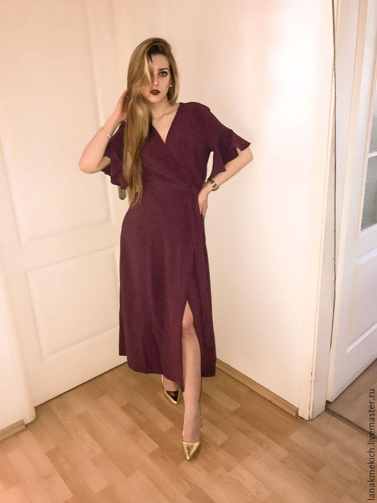 """Купить Платье - халат с запахом """"Малиновый"""" - фиолетовый, малиновый, платье с запахом, платье бохо, бохо"""