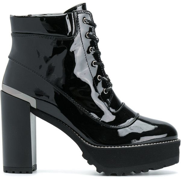 Stuart Weitzman platform lace-up boots ($639) ❤ liked on Polyvore featuring shoes, boots, black, lacing boots, lace-up platform boots, laced up shoes, black boots and laced boots