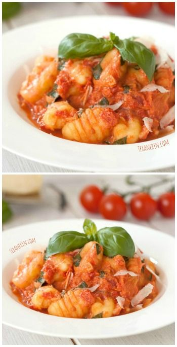 This gnocchi with lighter tomato cream sauce only takes a few minutes to put together but tastes like it took hours! Simple, quick and delicious.