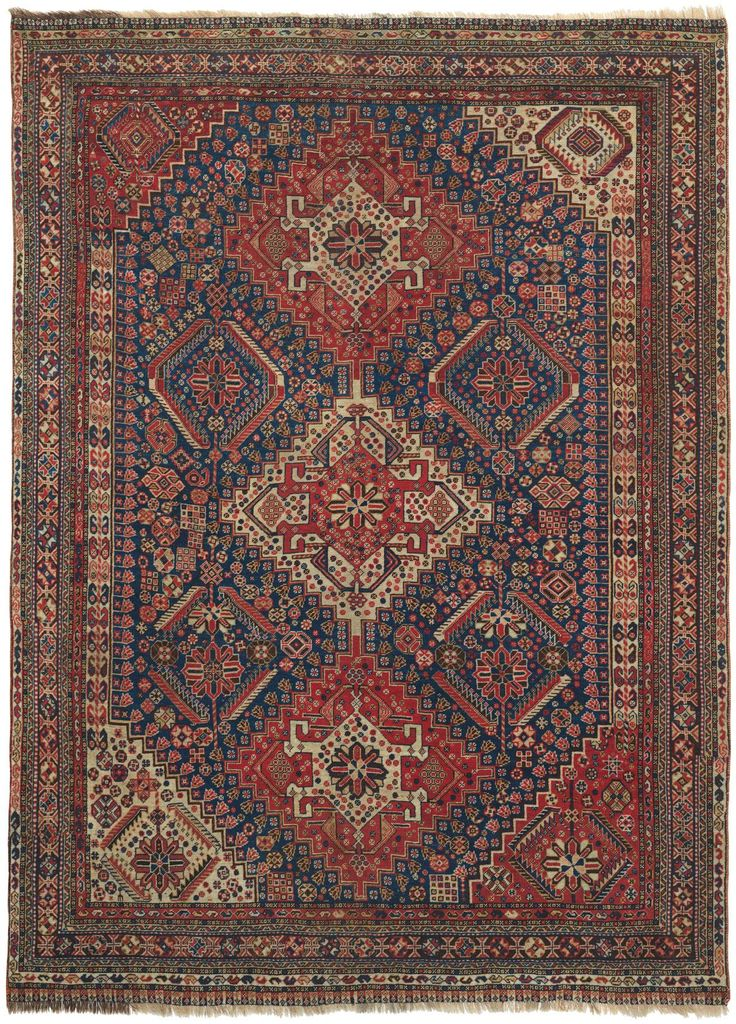 In This Traditional Antique Qashqai Carpet Three Clearly Drawn Diamond Medallions Of Naturally Dyed