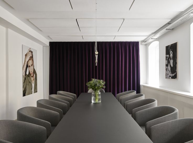 Universal Music Denmark's office. Curtain made of the velvety Harald textile by Kvadrat/Raf Simons. Design by Sara Martinsen, photo by Kristian Holm