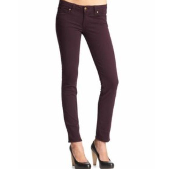 "Jeans sale!  Paige Denim Skyline Ankle Peg Jeans Beautiful plum purple color! Zip fly/button closure. Cotton/spandex blend. Inseam measures about 28"" in length. Paige Jeans Jeans Skinny"