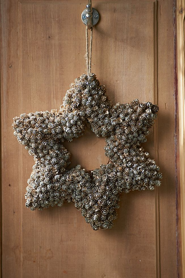 Star Wreath and frosted baby pinecones