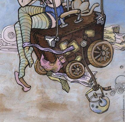 Фантазийные сюжеты ручной работы. Лягушки путешественницы. Воздушные шары, чемоданчик, гуашь