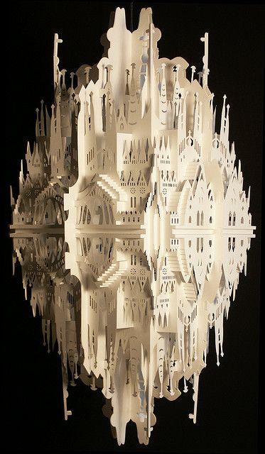 "Ingrid Siliakus ""Reflection on Sagrada Familia""  Inspired on Antoni Gaudi his masterpiece the Sagrada Familia, situated in Barcelona - Spain. Measurements: 60cm x 30cm x 30cm."