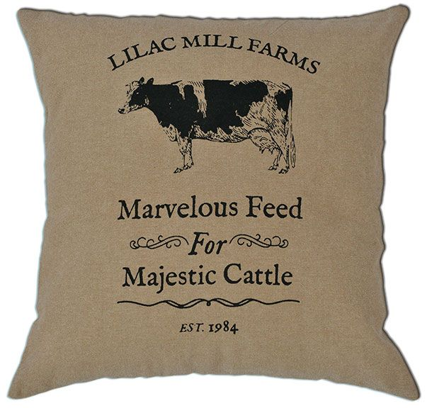 Lilac Mill Farms Majestic Cattle Pillow Cover @ KP Creek Gifts!