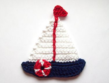 Sailboat crochet applique - not a pattern but for reference