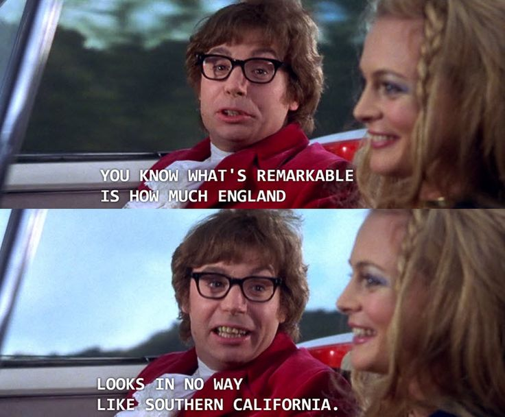 Austin Powers subtly breaking the fourth wall - more at http://www.thelolempire.com