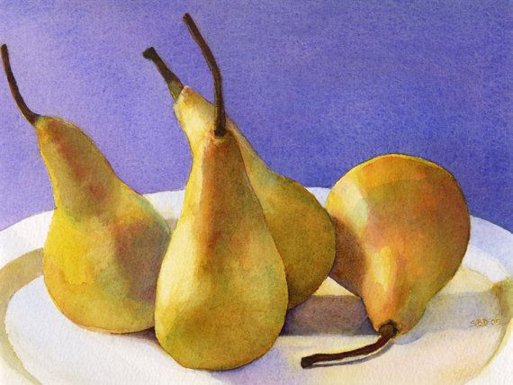 Fine art still life watercolor print of four by sarahbuelldowling, $60.00