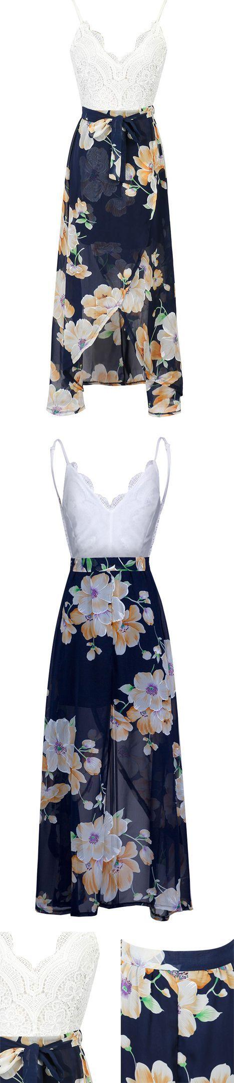 MYNYSTYLE | $19.99 White V-neck Lace Overlay Open Back Floral Split Maxi Dress.