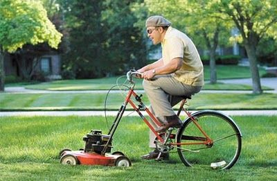 Bike mower! You got to admit this is funny cool!