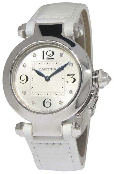 Cartier Pasha WJ11902G 18K White Gold & White Leather wDiamond Quartz 32mm Womens Watch