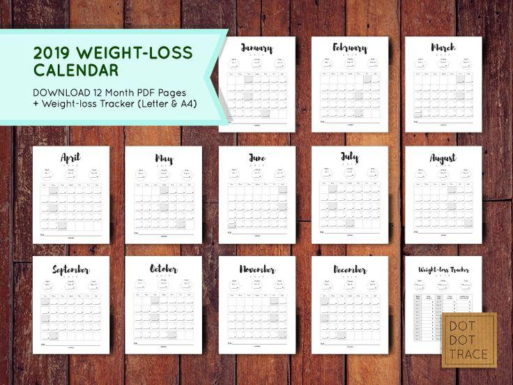 Pin on Printable Calendar Weight loss Calendar 2019 Diet