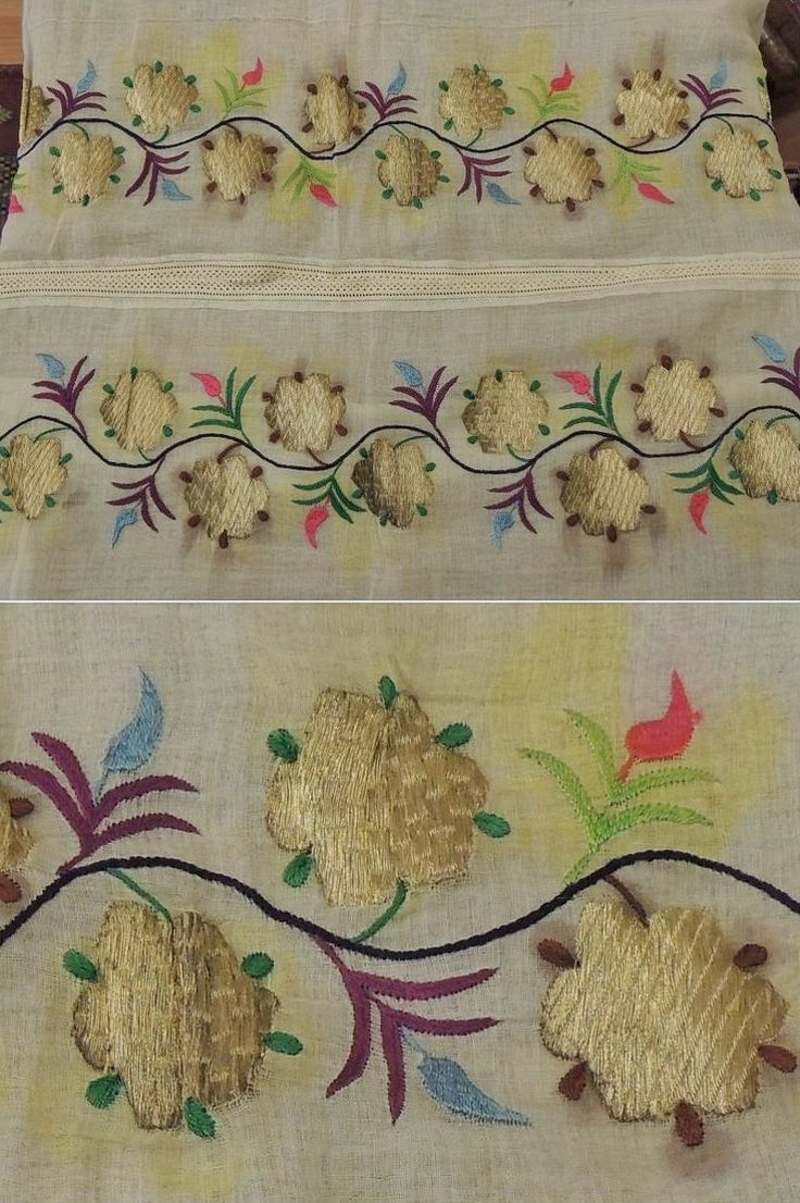 Embroidered 'makrama' (napkin). From immigrated Tatars from Crimea, 19th century. Worked with multi-coloured silk and golden metal thread. (Source: AntikAda, Eskişehir).