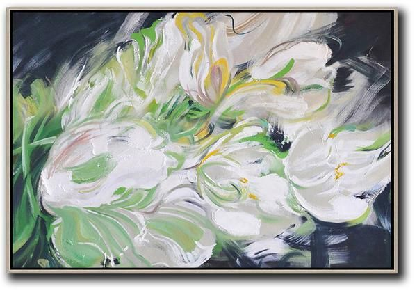 Horizontal Abstract Flower Painting #LX29C
