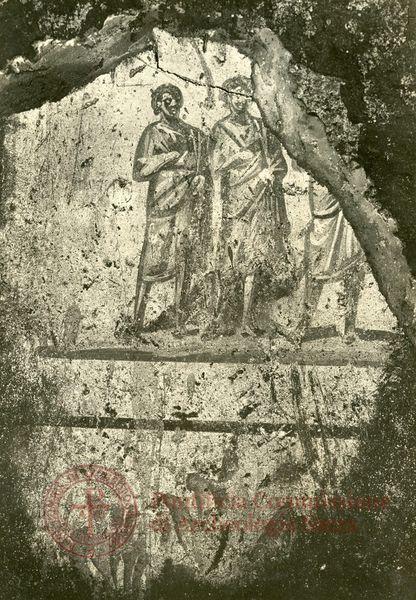 Catacombe di Pretestato, Roma. Affresco del III secolo. Guarigione dell'Emorroissa. Pontificia Commissione di Archeologia Sacra - Archivio
