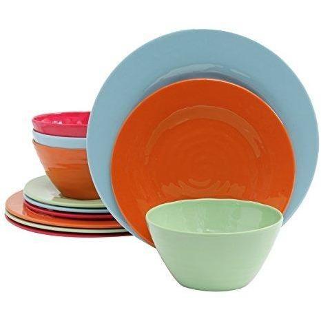 Gibson Home 12 Piece Brist Melamine Dinnerware (Set of 4), Assorted