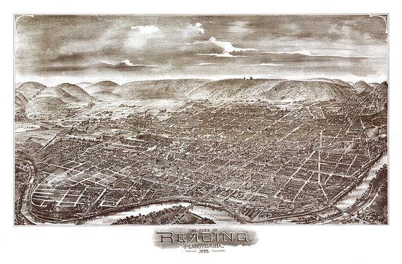 Reading, Berks County, Pennsylvania, PA 1898. Bailey & Moyer.  Reproduction Vintage Bird's Eye View Map Print PA0056