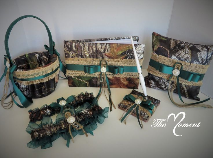 Mossy Oak Wedding Set with Burlap and Hunter Green, Mossy Oak Breakup, Mossy Oak Guestbook, Mossy Oak Pillow, Mossy Oak Basket, Mossy Oak by TheMomentWedding on Etsy https://www.etsy.com/listing/238304478/mossy-oak-wedding-set-with-burlap-and