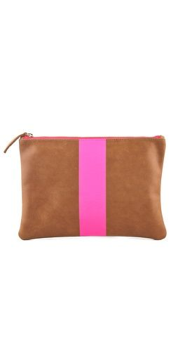 Clare Vivier neon stripe clutch is now on sale!: Neon Stripes, Stripes Clutches, Bags Clutches Hobo Everything, Flats Clutches, Neon Leather, Stripes Flats, Clutches Suede, Clutches 164, Makeup Clutches