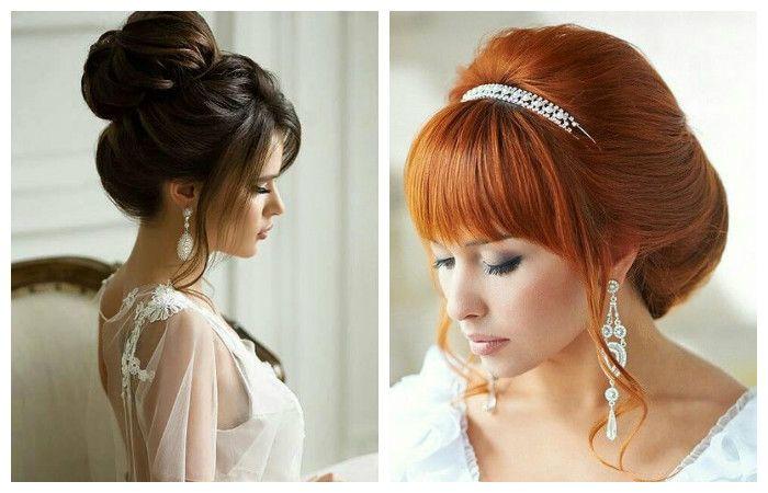 Фото свадебной прически с челкой прямой и на бок на средние волосы
