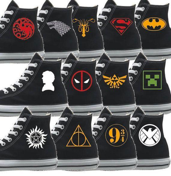 Custom Converse Shoes for all Fandom  Add text by UrbanArtAddict