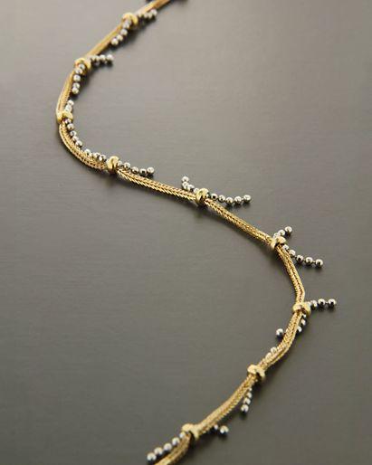 Αλυσίδα ποδιού χρυσή & λευκόχρυση Κ18