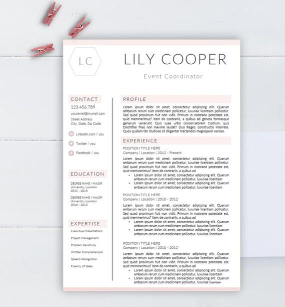 Creative resume template CV template for Word by AAAResume on Etsy