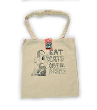 Eat Cats Cotton Shopper by HandsomePickles on Etsy