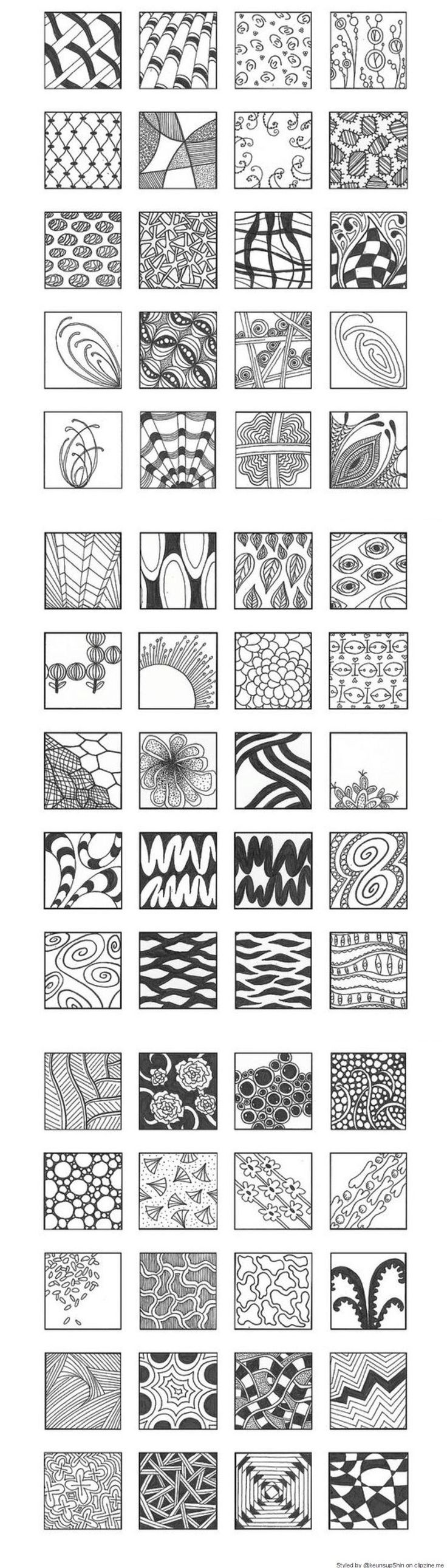 Zentangle Patterns - Possible Instructions: patterns on outside, moving in; different shapes floating in space, shape traveling across space; shape coming off of one edge (or 2), radial; grid; weave; shapes within grids, varying size/direction...