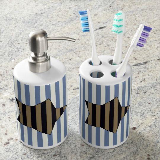 Gold & black striped star, marine stripes pattern soap dispenser & toothbrush holder