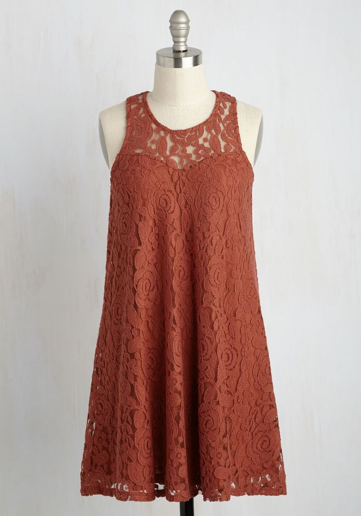 Music Hall Maven Laces Dress. Youre filled with confidence for your choir solo thanks to this orange shift dress! #orange #modcloth