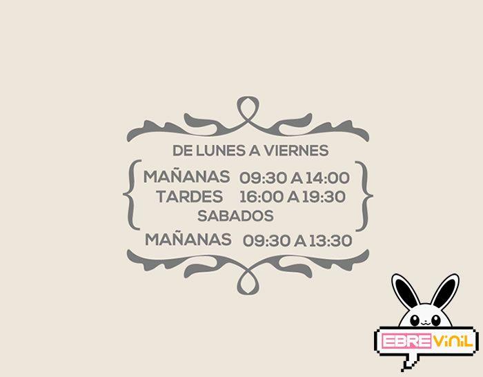 Vinilo decorativo con información horario de comercios y tiendas
