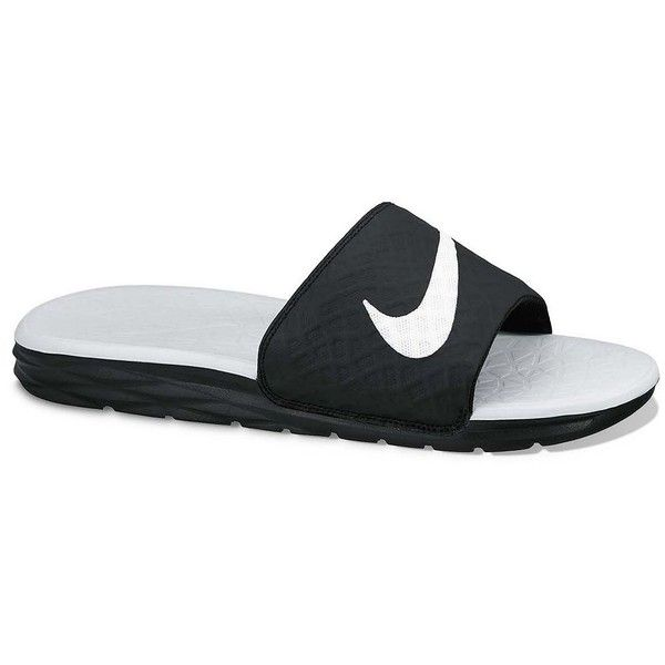 Nike Benassi Women's Solarsoft Slide Sandals ($35) ❤ liked on Polyvore featuring shoes, sandals, grey, slip-on shoes, gray sandals, leopard print slip-on shoes, nike sandals and synthetic shoes