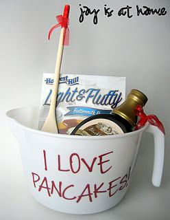 Super Easy & inexpensive pancake gift basket. Cute house warming gift :)