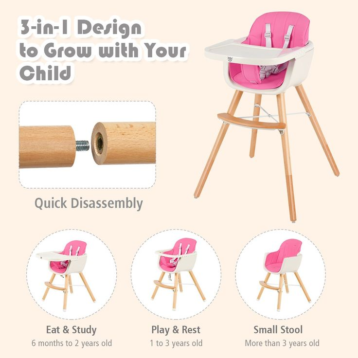 Babyjoy 3 in 1 convertible wooden high chair baby toddler